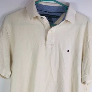 Tommy Hilfiger Mens Large Creme Polo